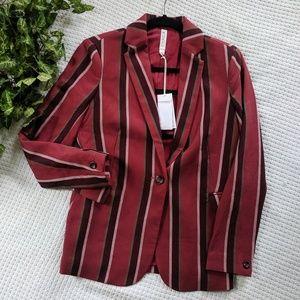 Mural Red Burgundy Stripe Blazer